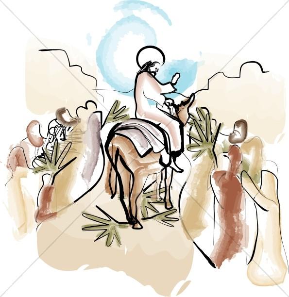 595x612 Jesus Enters Jerusalem Palm Sunday Clipart