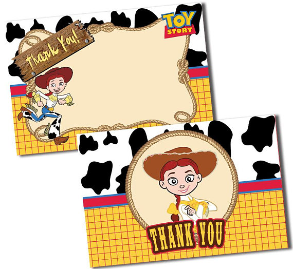 570x524 Toy Story Thank You Cards, Jessie Thank You Card,cowgirl Thank You