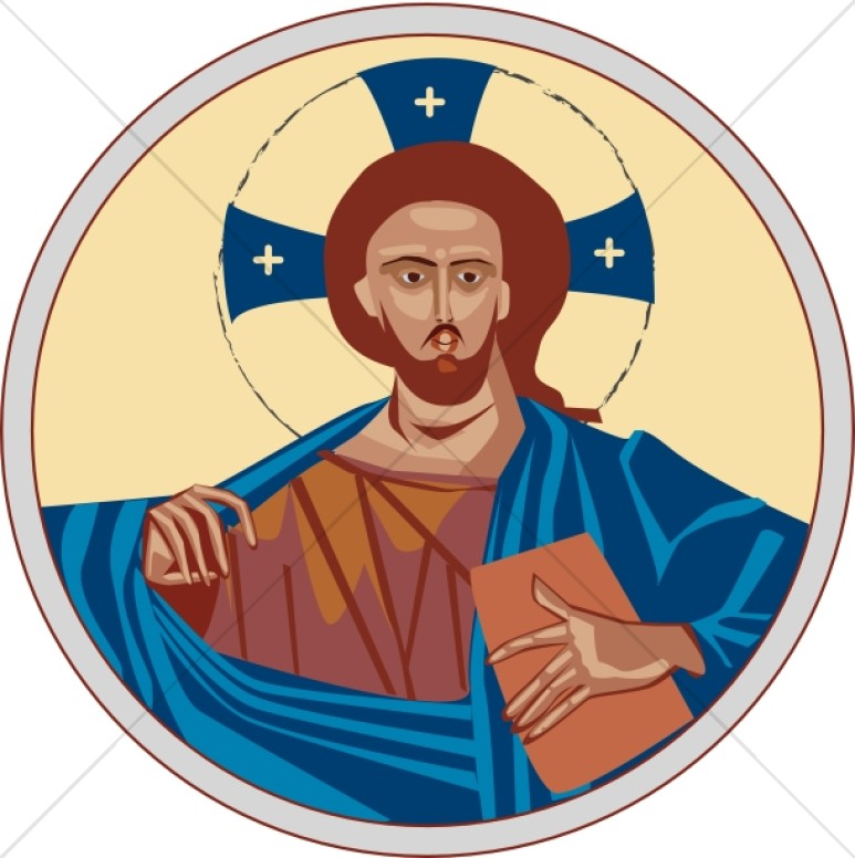 773x776 Iconic Christ With Cross Halo Jesus Clipart