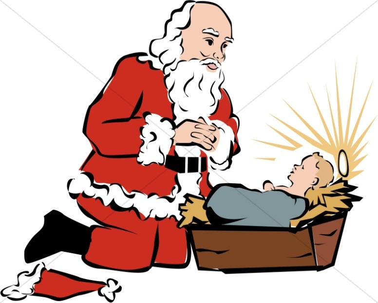 776x621 Santa Kneeling Beside Baby Jesus Baby Jesus Clipart