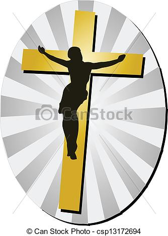 334x470 Jesus Christ With Cross. Jesus Christ Silhouette On Golden Eps
