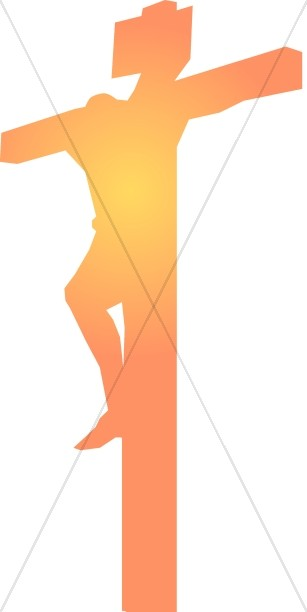 307x612 Orange Shining Christ On Cross Good Friday Clipart