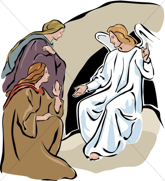 558x612 Two Marys With An Angel In Color Easter Clipart