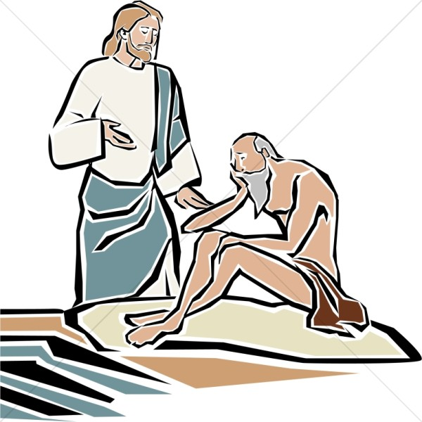 600x600 Jesus Heals The Blind Man By Bethsaida Pool New Testament Clipart