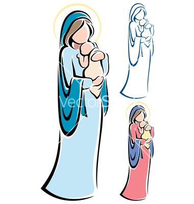 380x400 Clipart Mary And Baby Jesus