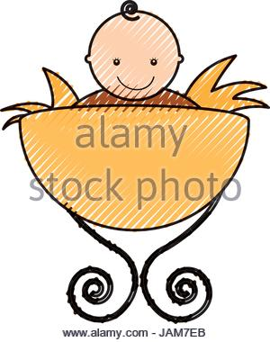 300x380 Jesus Baby In Straw Cradle Manger Stock Vector Art Amp Illustration