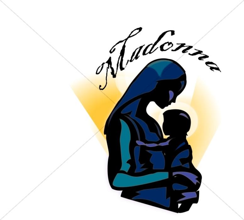 776x701 The Madonna And Baby Jesus Word Art Nativity Word Art