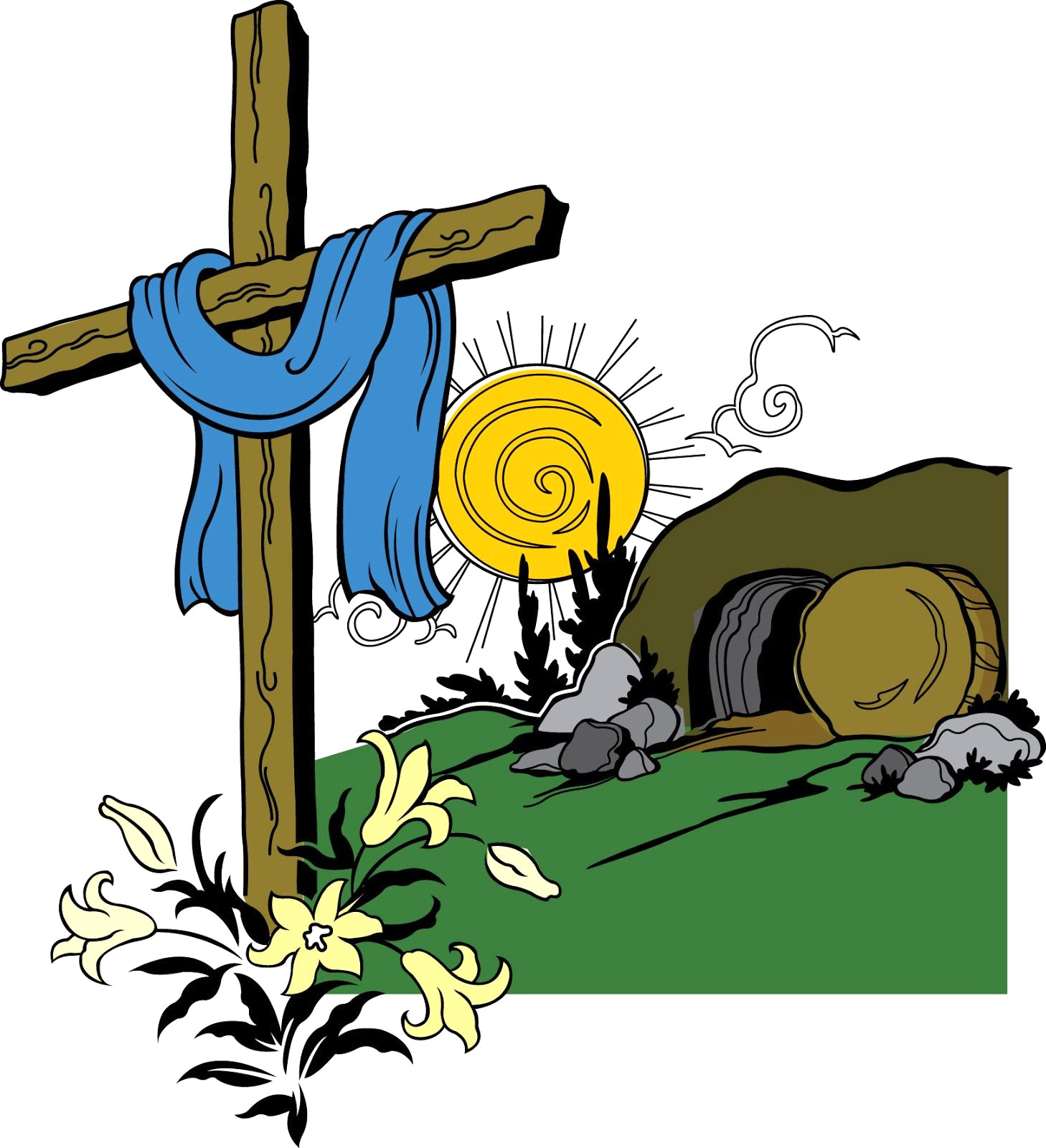 1458x1600 Cross And Tomb Clipart
