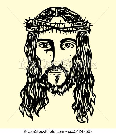 408x470 The Face Of The Lord Jesus Sketch Drawing, Art Vector Design Clip