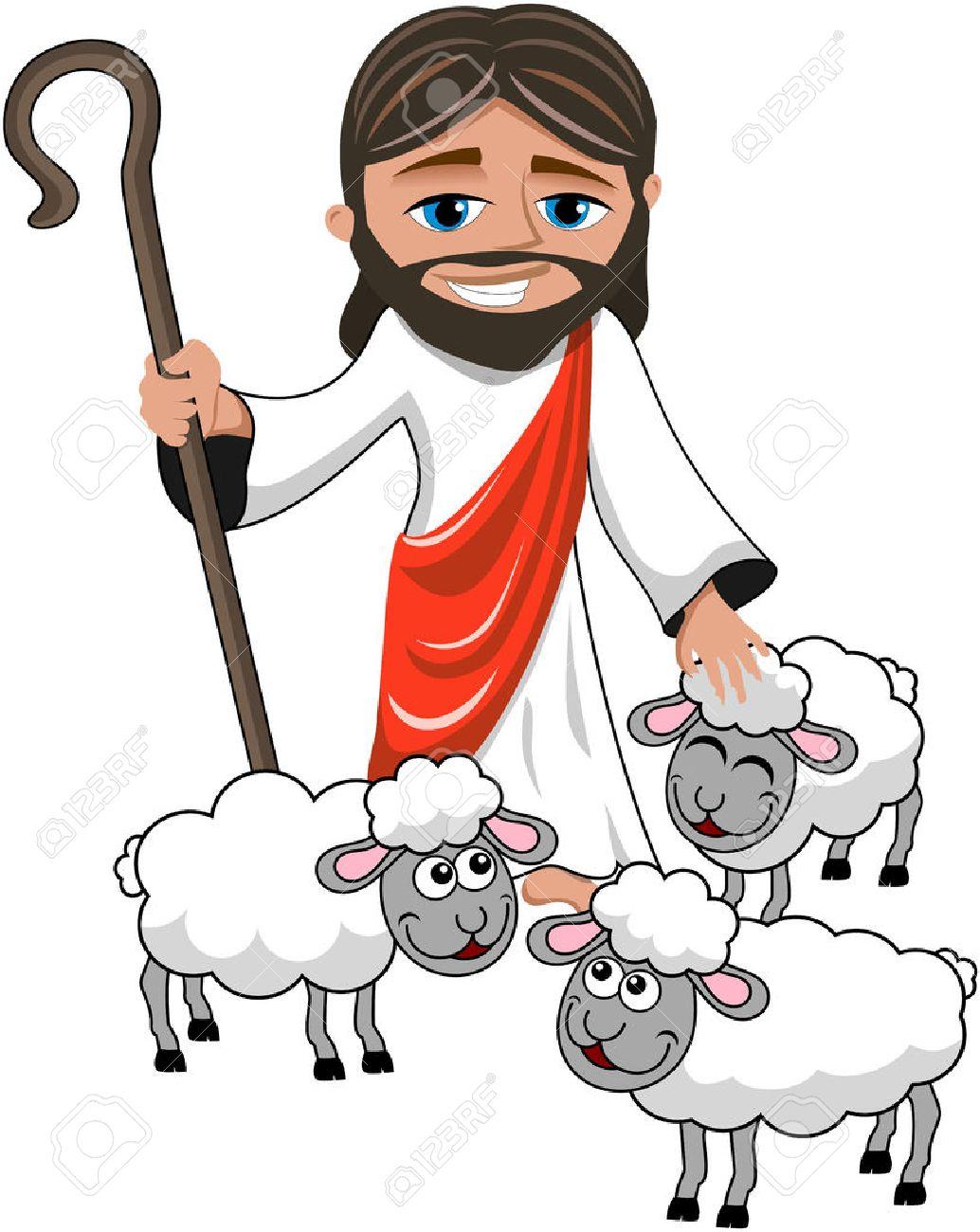 1034x1300 Shepherd And Sheep Clipart 44119087 Cartoon Smiling Jesus Holding