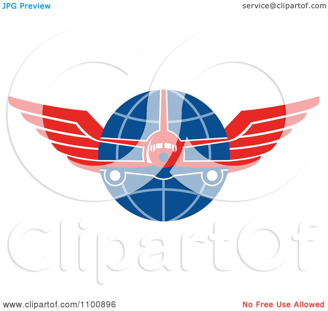 1080x1024 Clipart Retro Jumbo Jet Airplane Over A Grid Globe With Red Wings