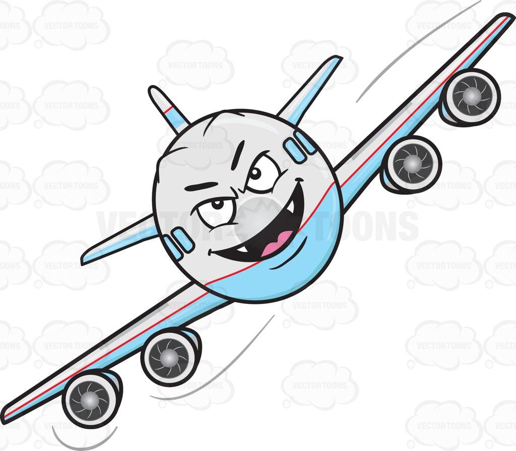 1024x895 Mischievous Look On Flying Jumbo Jet Plane With Fangs Emoji