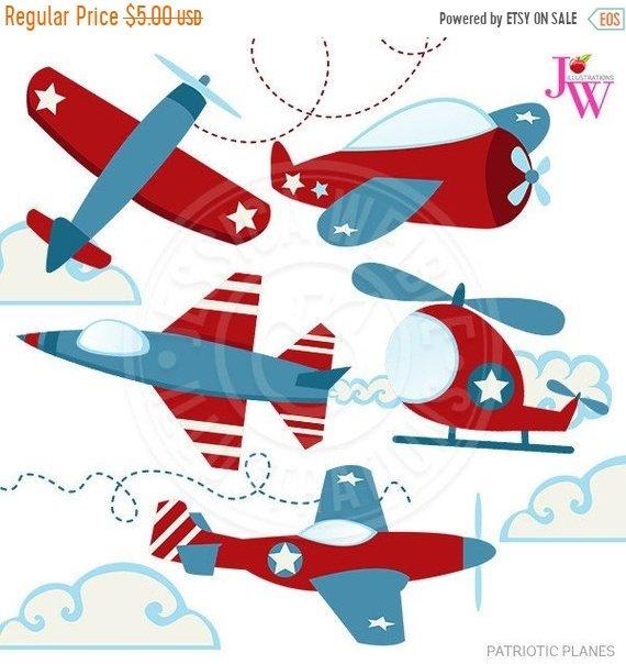 570x604 On Sale Patriotic Planes Cute Digital Clipart