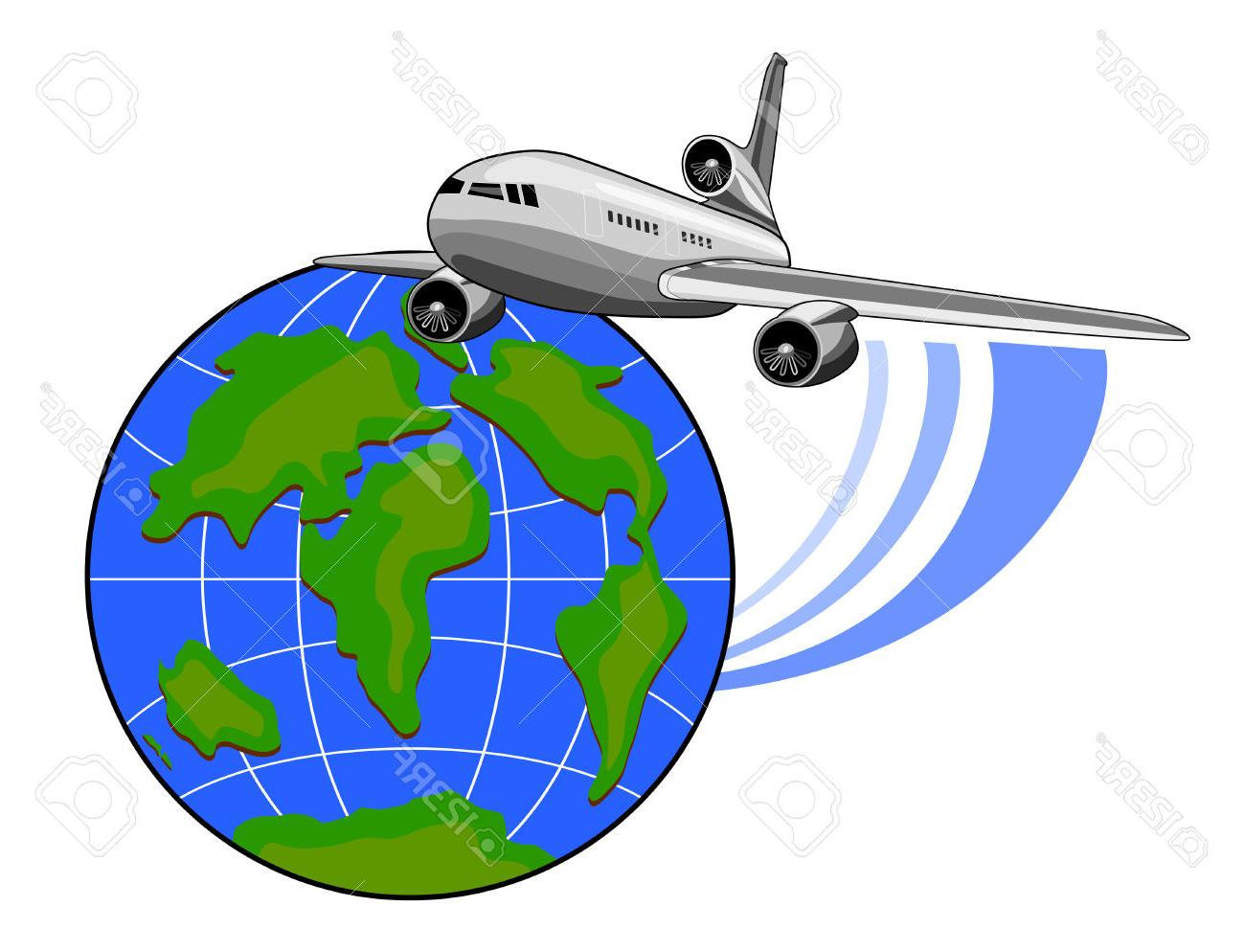 1300x994 Top Jet Plane Flying Up With Globe Stock Vector And Clipart Design