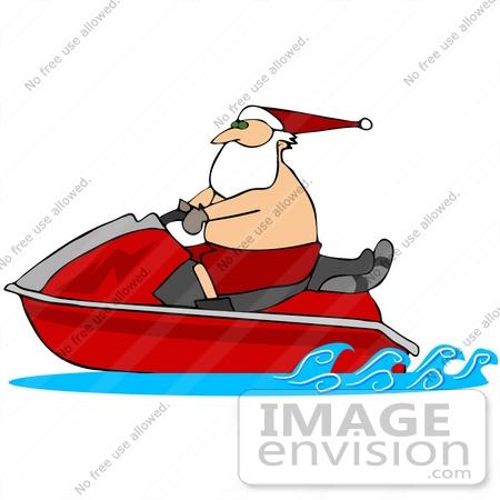 450x450 Clip Art Graphic Of Santa Shirtless, Riding A Red Jet Ski