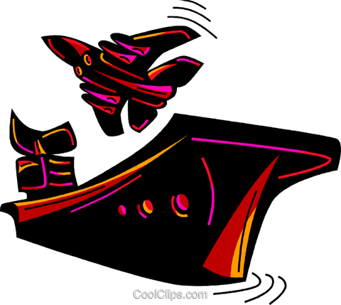 480x429 Fighter Jet Taking Off From Aircraft Carr Royalty Free Vector Clip