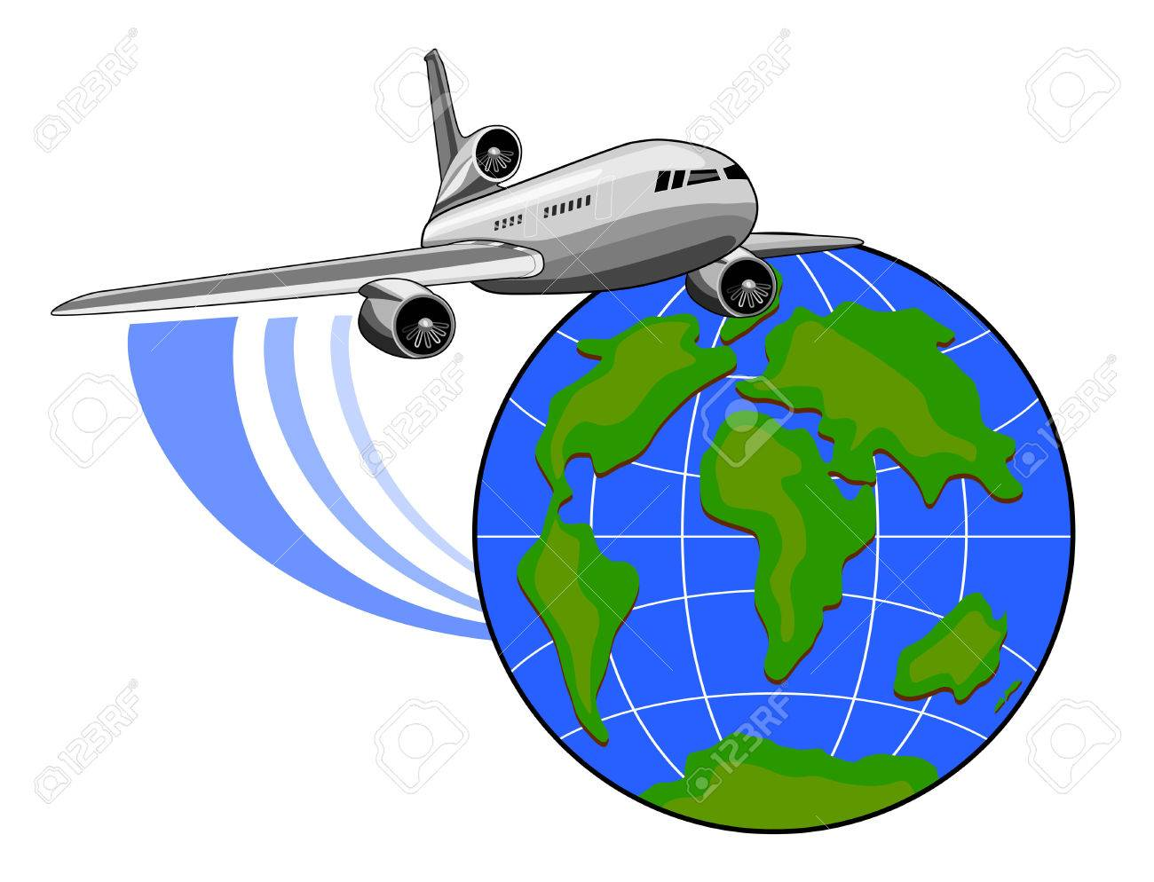 1300x994 Clipart Of Plane Flying Around Earth Amp Clip Art Of Plane Flying