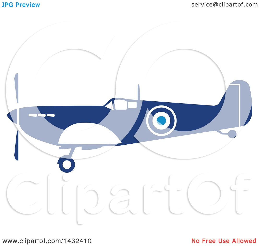 1080x1024 Clipart Of A Retro Blue And White World War Two Spitfire Fighter