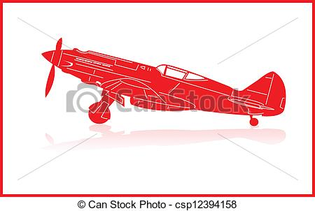 450x302 Fighter Planes. World War 2 Fighter Plane In Red Silhouette