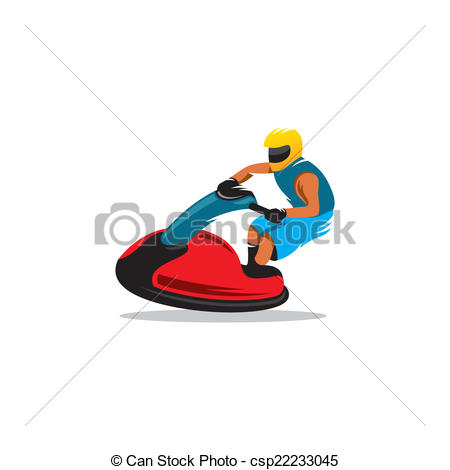 450x470 Jetski Vector Sign. Man On Jetski Jump On The Wave Isolated Eps