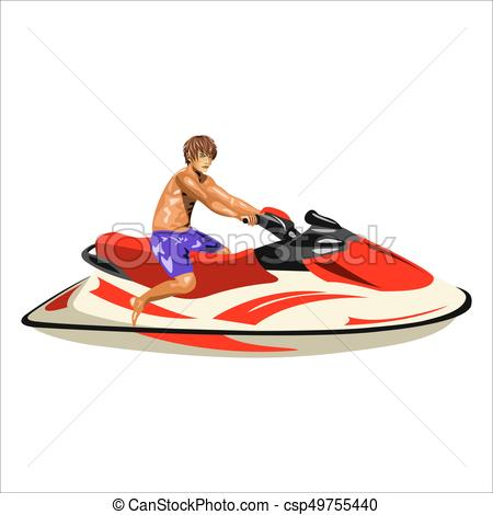 450x470 Man On The Jet Ski. A Man On A Jet Ski On A White Eps Vector