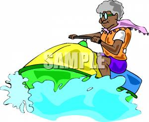 300x246 An Older African American Woman Riding On A Jet Ski