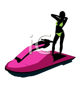 318x350 Swimsuit Model Silhouette On A Jet Ski