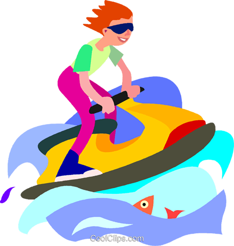 456x480 Boy Playing On A Jet Ski Royalty Free Vector Clip Art Illustration