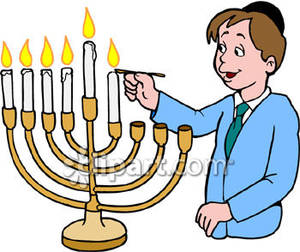 300x252 Jewish Boy Lighting A Menorah Royalty Free Clipart Picture