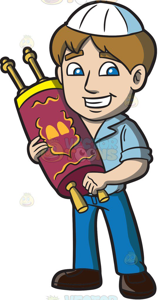 538x1024 A Young Jewish Man Holding A Torah Scroll Cartoon Clipart Vector