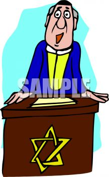 217x350 Cartoon Of A Rabbi Giving A Sermon