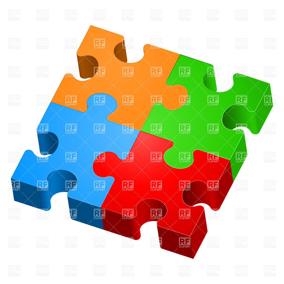 1200x1200 3d Colorful Jigsaw Puzzles Royalty Free Vector Clip Art Image