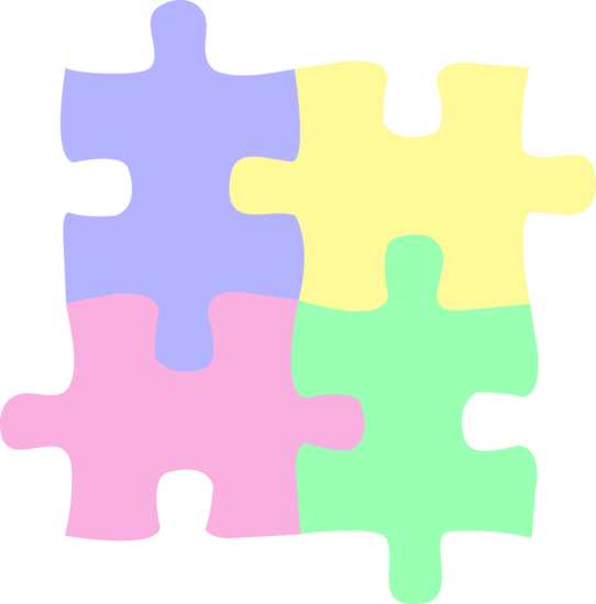 542x550 Four Pastel Colored Puzzle Pieces