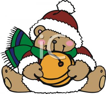 350x311 Christmas Bear Holding Jingle Bell