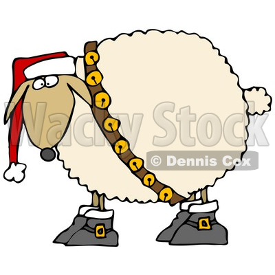400x400 Clipart Illustration Of A Festive White Sheep In Boots, Jingle