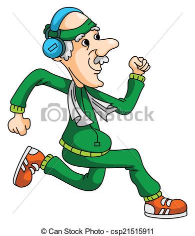 390x470 Old Man Jogging Vector Clip Art