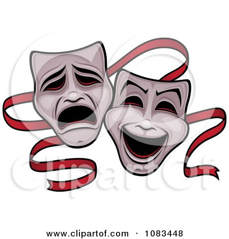450x470 Clipart Comedy And Tragedy Theater Masks And Red Ribbon