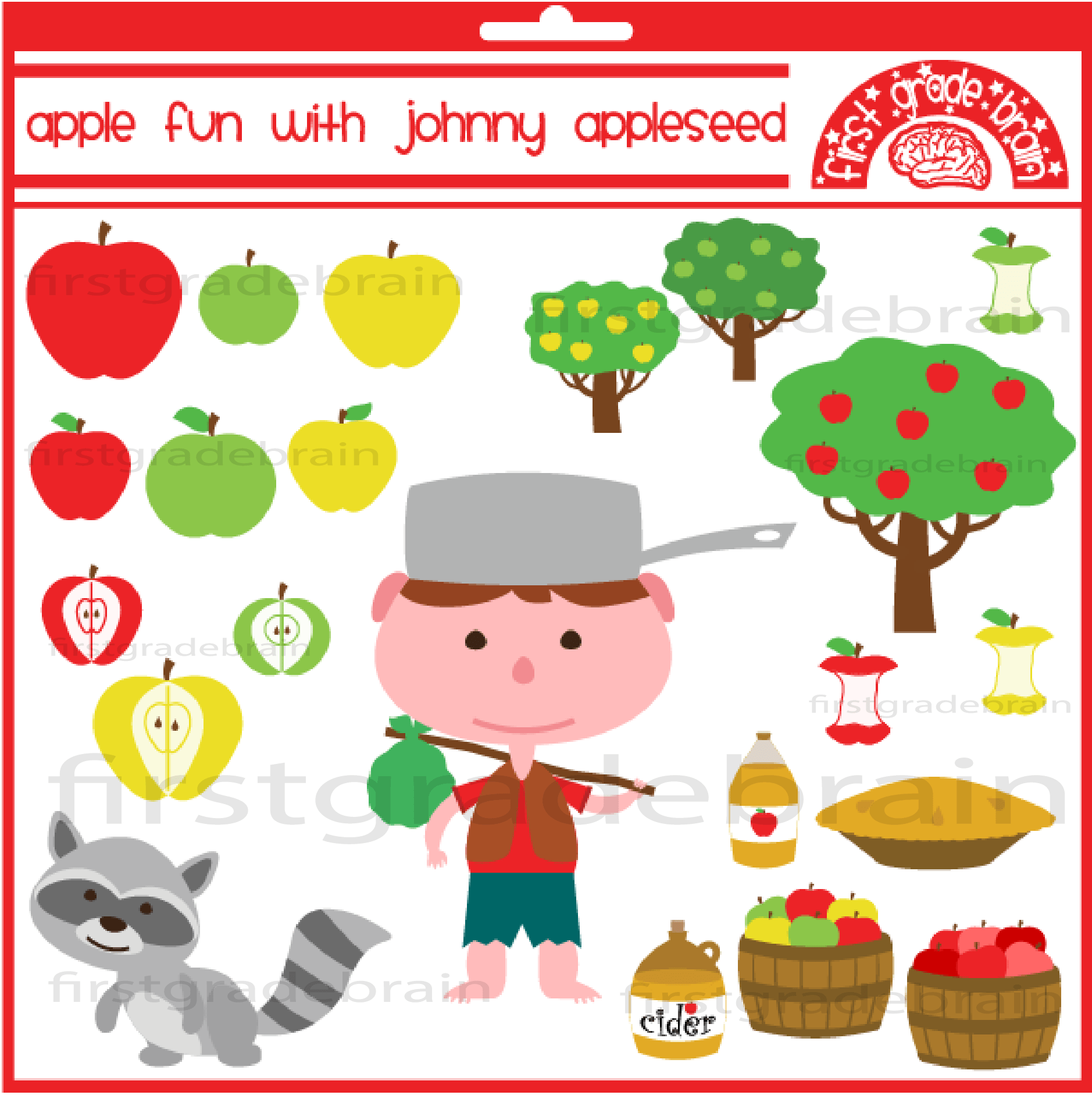 1878x1882 Apple Fun With Johnny Appleseed Clipart Graphics For Personal
