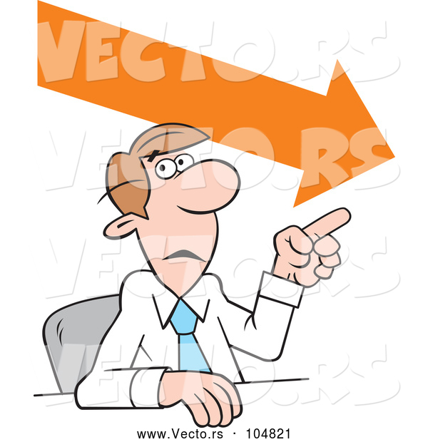 600x620 Vector Of Cartoon Businessman Making A Point, Downward Trend By