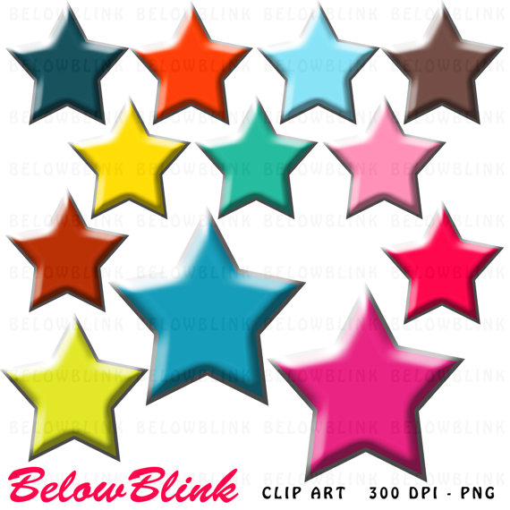 570x570 Colorful Stars Clipart Clip Art Digital Scrapbooking Commercial
