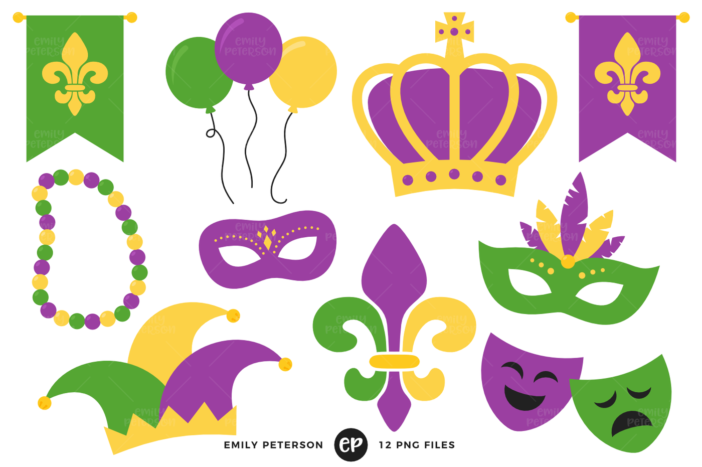 1400x931 Mardi Gras Clipart By Emily Peterson Studio