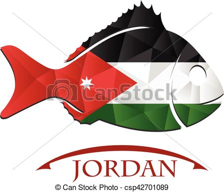 450x385 Fish Logo Made From The Flag Of Jordan. Vector
