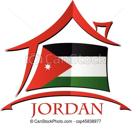 450x424 House Icon Made From The Flag Of Jordan Vectors Illustration