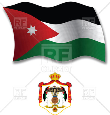 382x400 Jordan Textured Wavy Flag And Coat Of Arms Royalty Free Vector