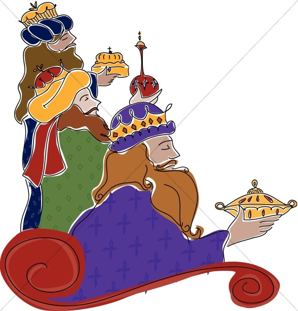 586x612 Three Wisemen Epiphany Clipart