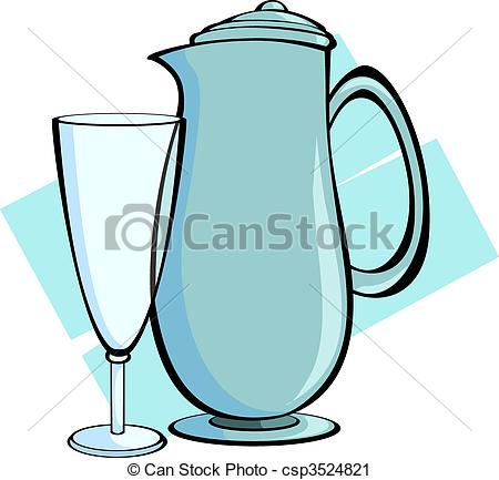 450x433 Jug And Glass Illustration Of Jug And Glass With Blue Clipart