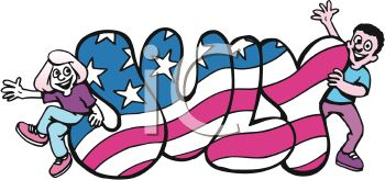 350x164 Month Of July Word Art With Stars And Stripes