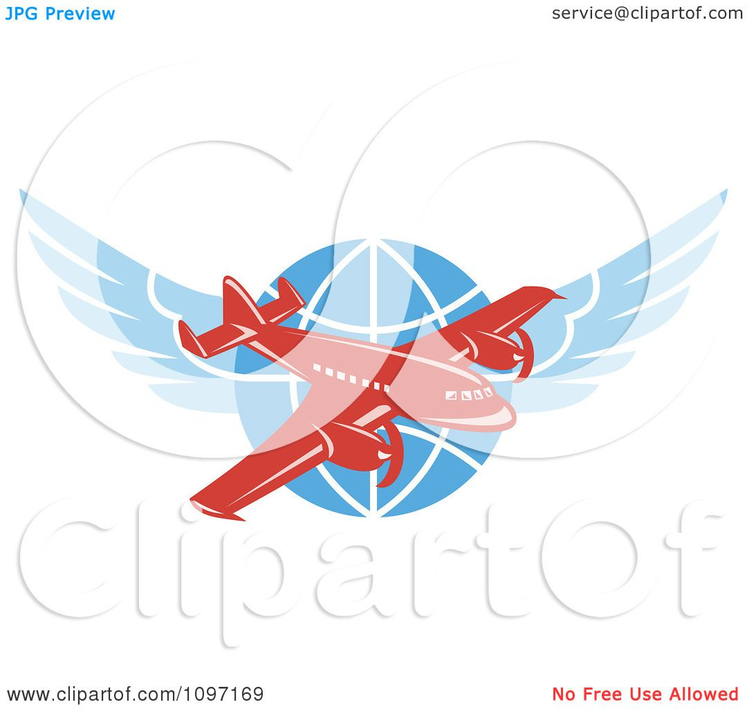 1080x1024 Clipart Retro Red Jumbo Jet Propeller Airplane Over A Winged Globe