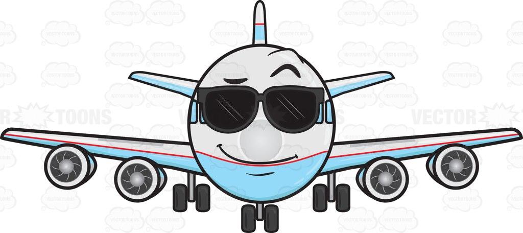 1024x456 Jumbo Jet Plane Wearing Sunglasses Emoji Cartoon Clipart Vector