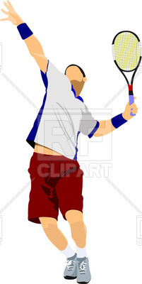 201x400 Tennis Player In Jump Royalty Free Vector Clip Art Image